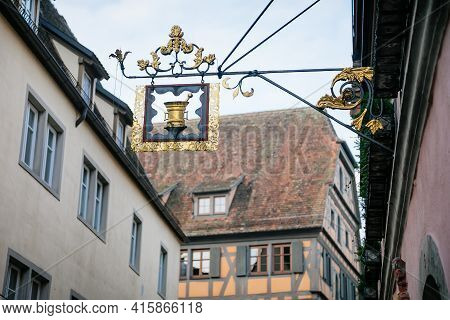Medieval Narrow Street, Colorful Renaissance, Gothic Historical Buildings, Vintage Wrought Iron Sign