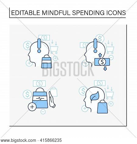 Mindful Spendings Line Icons Set. Not Impulsive Shopping, Green Thinking, Conscious Consumption. Sho