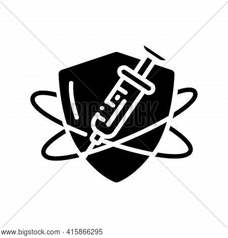 Immunization Glyph Icon. Vaccination. Immune System Concept. Immunology. Body Defence System. Health