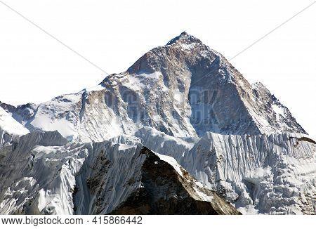 View Of Mount Makalu 8463 M From Mount Gokyo Ri Isolated On White, Everest Area, Sagarmatha National