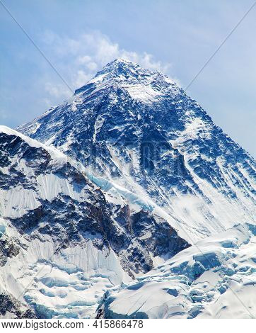Top Of Mount Everest With Clouds From Kala Patthar, Way To Mount Everest Base Camp, Khumbu Valley, N