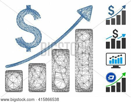 Vector Wire Frame Sales Growth Chart. Geometric Wire Frame Flat Net Made From Sales Growth Chart Ico