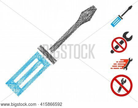 Vector Wire Frame Screwdriver. Geometric Wire Frame 2d Net Based On Screwdriver Icon, Designed With
