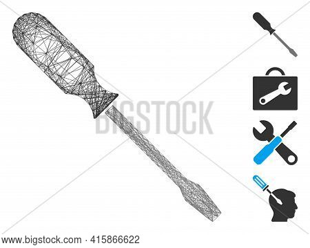 Vector Net Screwdriver. Geometric Linear Frame 2d Net Generated With Screwdriver Icon, Designed With
