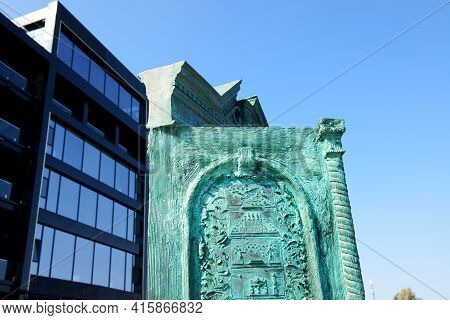 The House Of The Sun Art Object. It Is Located On The Lanzheron Beach, Odesa, Ukraine.