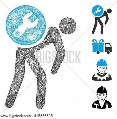 Vector Wire Frame Service Courier. Geometric Linear Frame 2d Net Made From Service Courier Icon, Des