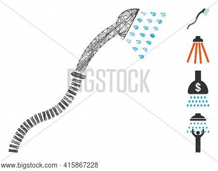 Vector Net Shower. Geometric Wire Frame 2d Net Generated With Shower Icon, Designed With Intersected
