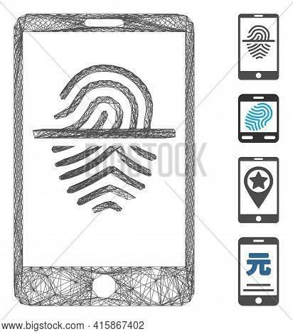 Vector Net Smartphone Fingerprint Scanner. Geometric Linear Frame 2d Net Generated With Smartphone F