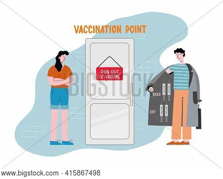 Run Out Of Vaccine. Smuggling, Contraband Offers Fake Vaccine. Concept Vector Illustration About Con
