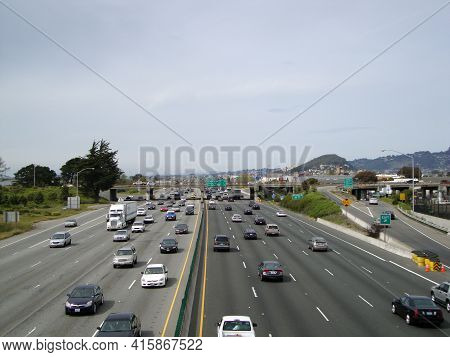 Berkeley - March 28, 2010: Car And Trucks Drive Along Highway Interstate 580.