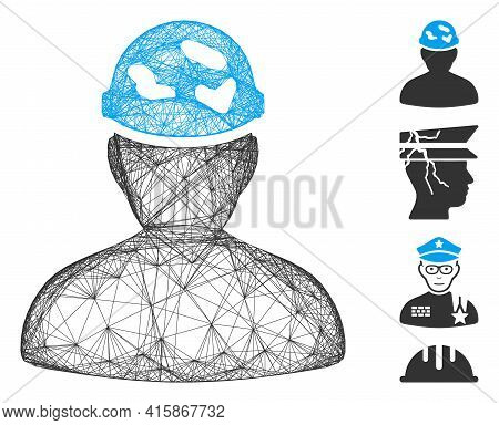 Vector Wire Frame Soldier Under Spotted Helmet. Geometric Wire Frame 2d Network Generated With Soldi