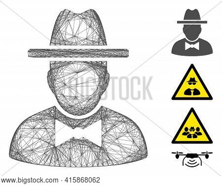 Vector Wire Frame Spy. Geometric Wire Frame 2d Network Generated With Spy Icon, Designed From Crosse