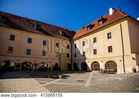 Medieval Gothic Castle Kadan At Royal City, Town Fortification, Fortress Wall On Sunny Day, Courtyar