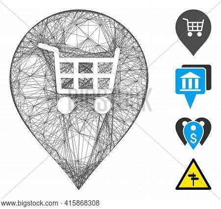 Vector Wire Frame Supermarket Cart Marker. Geometric Wire Frame 2d Network Made From Supermarket Car