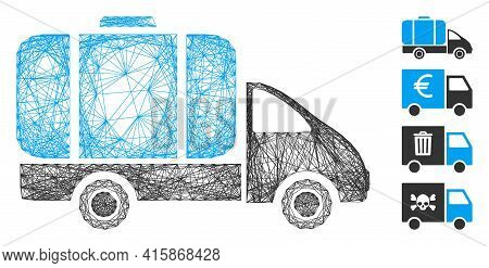 Vector Net Tank Truck. Geometric Wire Carcass 2d Net Generated With Tank Truck Icon, Designed With C