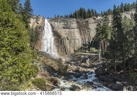 Beautiful Nevada Falls from above. Waterfall is located on Merced river. Yosemite National Park, California, USA
