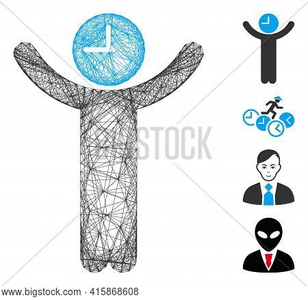 Vector Net Time Boss. Geometric Linear Frame 2d Net Made From Time Boss Icon, Designed From Intersec