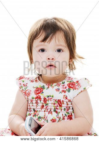 Little Girl And Phone