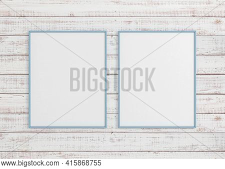 Double 8x10 Vertical Blue Frame Mockup On White Wooden Wall. Two Empty Poster Frame Mockup On White