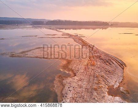 Sunrise Spring Melting River Flood Aerial Panorama. Rural April Landscape.