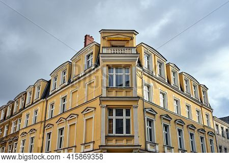 Facade Of A Historic Tenement House In The City Of Poznan