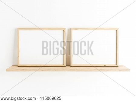 Double 8x10 Horizontal Wooden Frame Mockup On Wooden Shelf And White Wall. Two Empty Poster Frame Mo