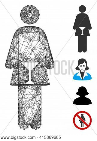 Vector Net Wc Woman. Geometric Linear Carcass Flat Net Made From Wc Woman Icon, Designed From Crossi