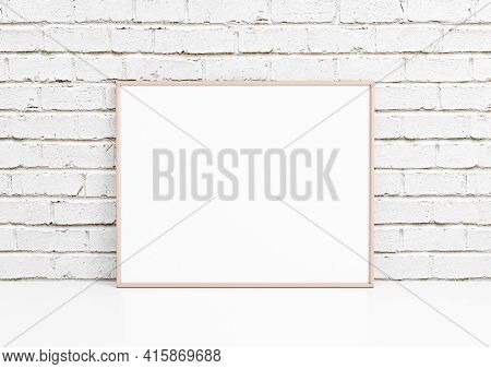Single 8x10 Horizontal Pink Frame Mockup With Decorations On White Floor And White Bricks Wall. One