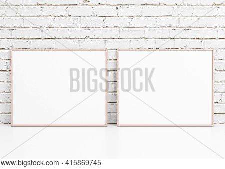 Double 8x10 Horizontal Pink Frame Mockup On White Floor And White Bricks Wall. Two Empty Poster Fram