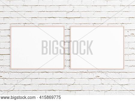 Double 8x10 Horizontal Pink Frame Mockup On White Bricks Wall. Two Empty Poster Frame Mockup On Whit