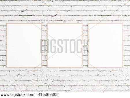 Triple 8x10 Vertical Pink Frame Mockup On White Bricks Wall. Three Empty Poster Frame Mockup On Whit