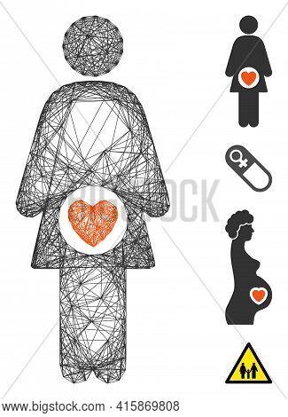 Vector Wire Frame Woman Fertility. Geometric Wire Frame 2d Network Generated With Woman Fertility Ic