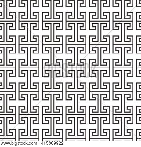 Greek Key Vector Seamless Pattern, Geometric Background, Meander Ornament, Roman Black And White Lin