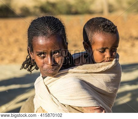 Axum, Ethiopia - Feb 11, 2020: Ethiopian People Seen On The Road From Axum To Gheralta, Tigray In No