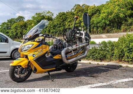 San Benedetto Del Tronto, Italy - Jul 04, 2020: Specialized Motorcycles For Firefighters In Italy. M