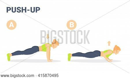 Woman Doing Push-ups Exercise. Girl Working At Home On Her Triceps Doing Push-up Guidance.