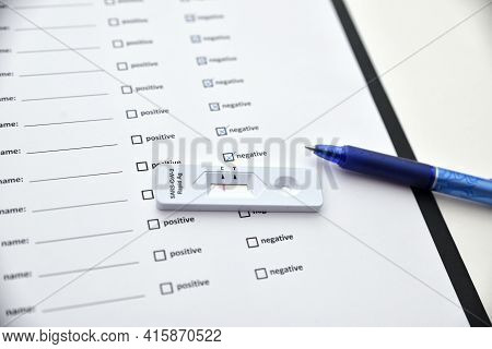 Filling Coronavirus Test Form. Covid-19 Test. Negative Outcome Medical Test Form For New Coronavirus