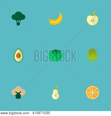 Set Of Dessert Icons Flat Style Symbols With Cauliflower, Avocado, Apple And Other Icons For Your We