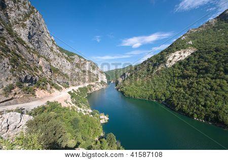 blue water of Koman-Fierza Lake, Albania poster