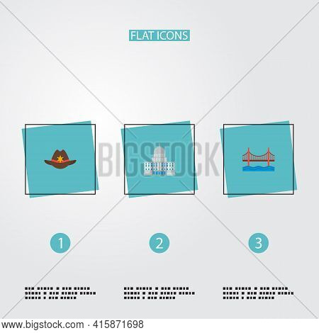 Set Of America Icons Flat Style Symbols With Sheriff Hat, Capitol, Golden Gate And Other Icons For Y