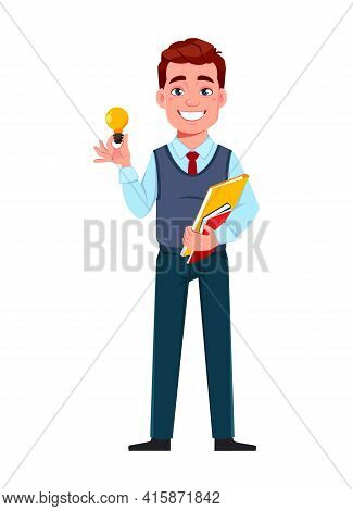 Handsome Business Man Having A Good Idea. Young Businessman Cartoon Character In Flat Style. Stock V