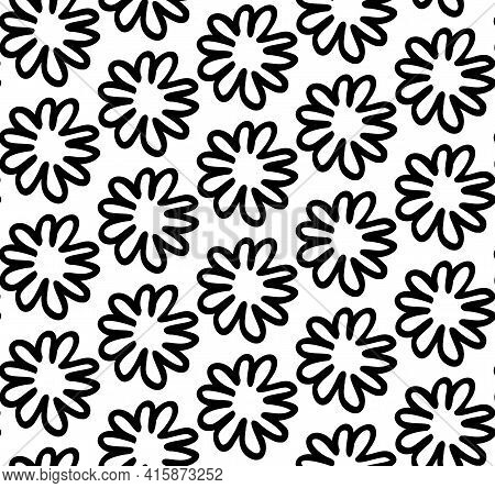 Cute Floral Flower Doodle Outline Black And White Monochrome Seamless Pattern. Simple Hand Drawn Sty