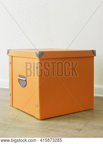 Orange Folding Storage Box Made Of Durable Cardboard For Storing Papers, Documents, Various Items