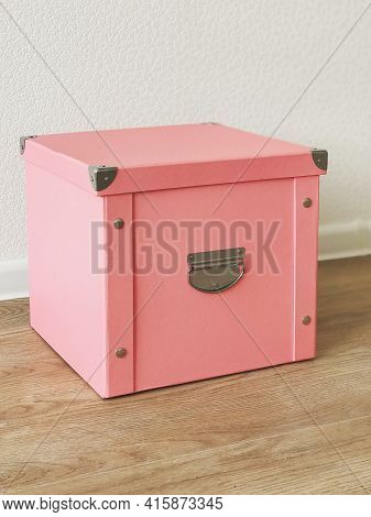 Pink Folding Storage Box Made Of Durable Cardboard For Storing Papers, Documents, Various Items