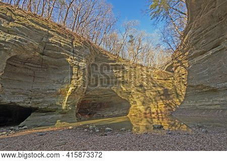 Winter Afternoon Shadows In A Deep Canyon In Matthiessen State Park In Illinois
