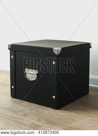 Black Folding Storage Box Made Of Durable Cardboard For Storing Papers, Documents, Various Items