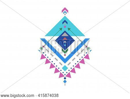 Colorful Mexican Aztec Tribal Traditional Geometric Logo Design Isolated On White Background. Sacred