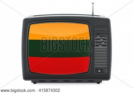 Lithuanian Television Concept. Tv Set With Flag Of Lithuania. 3d Rendering Isolated On White Backgro