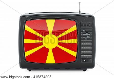 Macedonian Television Concept. Tv Set With Flag Of Macedonia. 3d Rendering Isolated On White Backgro
