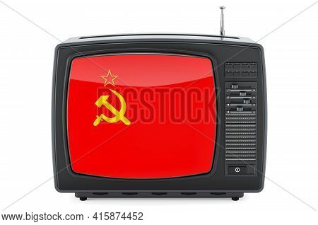 The Ussr Television Concept. Tv Set With Flag Of The Soviet Union. 3d Rendering Isolated On White Ba
